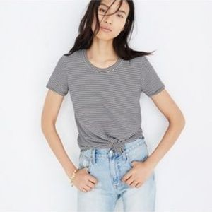 MADEWELL KNOT-FRONT TEE IN STRIPE XS NWT